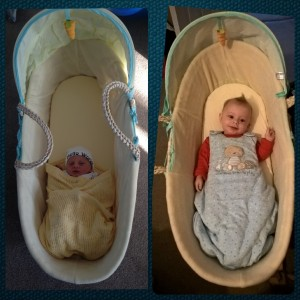 Including this photo just because I love it...Baby Lighty's first and last times in his Moses basket! We certainly got our money's worth out of the basket - 5 month's worth! Look how much he's grown!