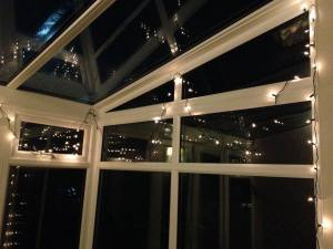 Christmas lights in the conservatory...