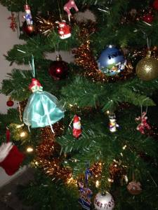 Disney princesses sit alongside more traditional baubles on our 'memory tree'.