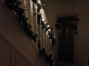 ...garlands and fairy lights on the bannisters!!
